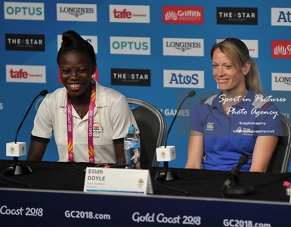 Nafisatu Umaru (GHA, captain, left) and Eilidh Doyle (SCO). Team Scotland press conference. Main press centre. Gold Coast 2018. Queensland. Australia. 04/04/2018. ~ MANDATORY CREDIT Garry Bowden/SIPPA - NO UNAUTHORISED USE - +44 7837 394578