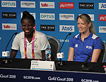 Nafisatu Umaru (GHA, captain, left) and Eilidh Doyle (SCO). Team Scotland press conference. Main press centre. Gold Coast 2018. Queensland. Australia. 04/04/2018. ~ MANDATORY CREDIT Garry Bowden/SIPPA - NO UNAUTHORISED USE - +44 7837 394578