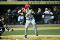 Dan Fallacaro (20) of the Sacred Heart Pioneers at bat against the Wake Forest Demon Deacons at David F. Couch Ballpark on February 15, 2019 in  Winston-Salem, North Carolina.  The Demon Deacons defeated the Pioneers 14-1. (Brian Westerholt/Four Seam Images)