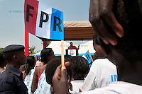 Rwandan president Paul Kagame speaks during the presidential campaign rally in Gisagara District, Rwanda. July 28 2010