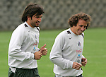 Mexico national soccer team players Francisco Kikin Fonseca (L),  and Gerardo Torrado train during a training session at the Centro Pegaso training center, March 27, 2006. Photo by Javier Rodriguez