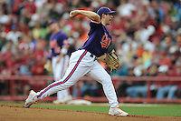 Starting Pitcher Dominic Leone #6 of the Clemson Tigers delivers a pitch against the South Carolina Gamecocks at Carolina Stadium on March 3, 2012 in Columbia, South Carolina. The Gamecocks defeated the Tigers 9-6. Tony Farlow/Four Seam Images