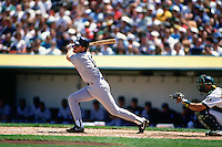 OAKLAND, CA - Wade Boggs of the New York Yankees bats during a game against the Oakland Athletics at the Oakland Coliseum in Oakland, California in 1994. Photo by Brad Mangin