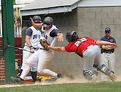 DeSales catcher # 28 Zachary Hess tags out FDU-Florham's #18 Joey Santilllo during the DeSales vs FDU-Florham baseball conference tournament, in which DeSales hosted on Saturday May 6, 2006 at Memorial Field in Quakertown, Pa. DeSales went on to win this game 6-4. (Jane Therese/Special to The Morning Call).