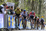 Wout Van Aert (BEL) Team Jumbo-Visma leads European Champion Matteo Trentin (ITA) Mitchelton-Scott and Mathieu Van Der Poel (NED) Corendon-Circus up the the first ascent of the Kemmelberg during the 2019 Gent-Wevelgem in Flanders Fields running 252km from Deinze to Wevelgem, Belgium. 31st March 2019.<br /> Picture: Eoin Clarke | Cyclefile<br /> <br /> All photos usage must carry mandatory copyright credit (© Cyclefile | Eoin Clarke)