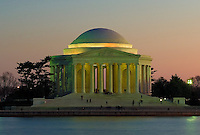 Jefferson Memorial illuminated as the sun sets, Washington, DC
