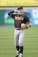 Ryan McMahon (5) of the Modesto Nuts throws before a game against the Rancho Cucamonga Quakes at LoanMart Field on May 39, 2015 in Rancho Cucamonga, California. Rancho Cucamonga defeated Modesto, 13-2. (Larry Goren/Four Seam Images)