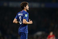 30th October 2019; Stamford Bridge, London, England; English Football League Cup, Carabao Cup, Chelsea Football Club versus Manchester United; Marcos Alonso of Chelsea - Strictly Editorial Use Only. No use with unauthorized audio, video, data, fixture lists, club/league logos or 'live' services. Online in-match use limited to 120 images, no video emulation. No use in betting, games or single club/league/player publications