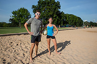 Young happy athletic couple with volleyball Zilker Park volleyball courts