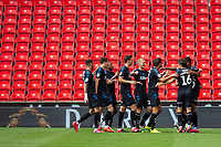 27th June 2020; Bet365 Stadium, Stoke, Staffordshire, England; English Championship Football, Stoke City versus Middlesbrough; Middlesborough celebrate their goal in front of empty stands in minute 29 for 0-1