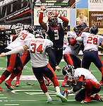 SIOUX FALLS, SD - MAY 16:  Tyler Knight #3 from the Sioux Falls Storm blocks the field goal attempt of Zach Plukinen #34 form the Bemidji Axemen in the first half of their game Saturday night at the Sioux Falls Arena. (Photo by Dave Eggen/Inertia)