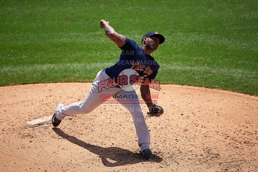 Scranton/Wilkes-Barre RailRiders relief pitcher Diego Moreno (47) delivers a pitch during a game against the Buffalo Bisons on July 2, 2016 at Coca-Cola Field in Buffalo, New York.  Scranton defeated Buffalo 5-1.  (Mike Janes/Four Seam Images)