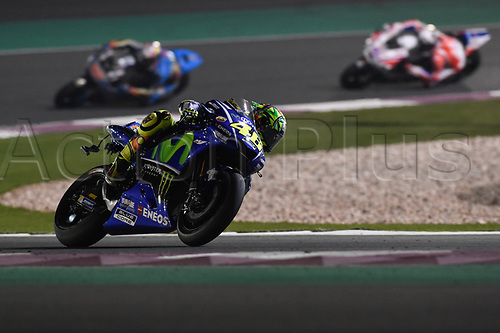 March 26th 2017, Doha, Qatar; MotoGP Grand Prix Qatar; Valentino Rossi (movistar Yamaha) on his way to recover a 3rd placed finish