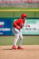 Philadelphia Phillies third baseman Alec Bohm (18) leads off second base during a Florida Instructional League game against the Toronto Blue Jays on September 24, 2018 at Spectrum Field in Clearwater, Florida.  (Mike Janes/Four Seam Images)