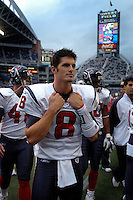 Oct 16, 2005; Seattle, Wash, USA; Houston Texans quarterback #8 David Carr warms up prior to the game against the Seattle Seahawks at Qwest Field. Mandatory Credit: Photo By Mark J. Rebilas
