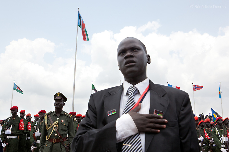 Saturday 9 july 2011 - Juba, Republic of South Sudan - South Sudan raised the flag of its new nation for the first time.Tens of thousands of citizens of the new South Sudan celebrate national independence but whether statehood will resolve issues of identity after a decades-long war remains to be seen. Photo credit: Benedicte Desrus
