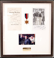 BNPS.co.uk (01202 558833)<br /> Pic:   EastBristolAuctions/BNPS<br /> <br /> Also in the sale - signed photographs from the cast of Only Fools and Horses an autographed title page from Buster Merryfield's 'During The War' autobiography.<br /> <br /> During the war...<br /> <br /> A war medal that Uncle Albert wore with pride throughout Only Fools and Horses has emerged for sale at aution for £2,000.<br /> <br /> The decoration - a genuine World War II 1939-45 Star and ribbon - was regularly pinned to Albert's chest during his time on the legendary sitcom.<br /> <br /> It is one of a handful used during the comedy's production and was often seen hanging from the waistcoat of the much-loved white whiskered character.