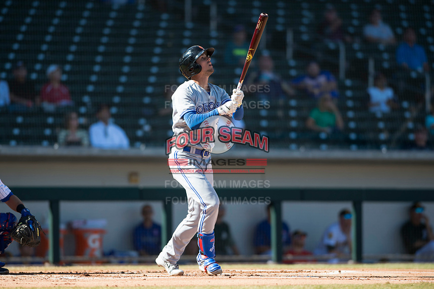 Surprise Saguaros designated hitter Cavan Biggio (26), of the Toronto Blue Jays organization, hits a home run during an Arizona Fall League game against the Mesa Solar Sox at Sloan Park on November 1, 2018 in Mesa, Arizona. Surprise defeated Mesa 5-4 . (Zachary Lucy/Four Seam Images)