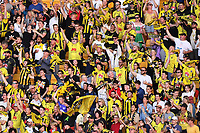 15th March 2020, Wellington, New Zealand;  Phoenix fans celebrate the goal from Gary Hooper during the A-League - Wellington Phoenix versus Melbourne Victory football match at Sky Stadium in Wellington on Sunday the 15th March 2020.