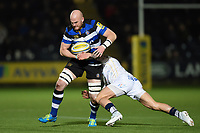 Matt Garvey of Bath Rugby is tackled in possession. Aviva Premiership match, between Worcester Warriors and Bath Rugby on January 5, 2018 at Sixways Stadium in Worcester, England. Photo by: Patrick Khachfe / Onside Images