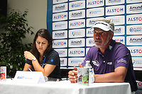 Here for Open preparation and improve his game Darren Clarke (NIR) speaking in the media interview ahead of the 2015 Alstom Open de France, played at Le Golf National, Saint-Quentin-En-Yvelines, Paris, France. /01/07/2015/. Picture: Golffile | David Lloyd<br /> <br /> All photos usage must carry mandatory copyright credit (&copy; Golffile | David Lloyd)