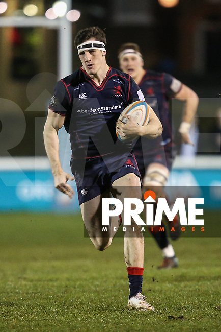 Ross Neal of London Scottish in possession during the Greene King IPA Championship match between London Scottish Football Club and Jersey Reds at Richmond Athletic Ground, Richmond, United Kingdom on 16 March 2018. Photo by David Horn.