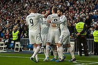 Real Madrid´s Karim Benzema, Toni Kroos, Marcelo Vieira, Nacho Fernandez and Isco celebrates a goal during 2014-15 La Liga match between Real Madrid and Deportivo de la Coruna at Santiago Bernabeu stadium in Madrid, Spain. February 14, 2015. (ALTERPHOTOS/Luis Fernandez) /NORTEphoto.com