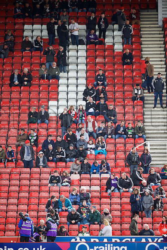 02.04.2016. Britannia Stadium, Stoke, England. Barclays Premier League. Stoke City versus Swansea City.  A small number of away fans start to fill the away end.