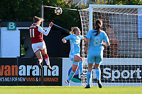 Vivianne Miedema of Arsenal heads against the bar during Arsenal Women vs Sunderland AFC Ladies, FA Women's Super League FA WSL1 Football at Meadow Park on 12th November 2017