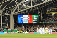 16/11/2015;UEFA 2016 European Championship Play-Off Ireland vs Bosnia-Herzegovina 2nd Leg,Aviva Stadium,Dublin <br /> Republic of Ireland and Bosnia-Herzegovina players observe a minutes silence after the recent terrorist attacks in Paris.<br /> Photo Credit: actionshots.ie/Tommy Grealy