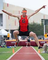 All-American high jumper Austin DeWitz '19 won his third consecutive SCIAC Championship in the high jump, won the triple jump with a leap of 46-06.25, and won the 110m hurdles at 15.35 for a huge personal record and his third SCIAC Championship of the day.<br /> The Occidental College men's and women's track and field teams compete in the 2019 Southern California Intercollegiate Athletic Conference (SCIAC) Track and Field Championships at the Claremont-Mudd-Scripps Burns Track Complex in Claremont, Calif. on Sunday, April 28, 2019.<br /> After the two-day SCIAC Championships CMS scored 211.50 points, followed by Pomona-Pitzer (171.50), Redlands (114), Occidental (92.50), Whittier (57.50), La Verne (54), Cal Lutheran (48), Chapman (23) and Caltech (4).