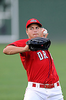 Pitcher Jalen Beeks (20) of the Greenville Drive warms up before a game against the Augusta GreenJackets on Thursday, June 11, 2015, at Fluor Field at the West End in Greenville, South Carolina. Greenville won, 10-1. (Tom Priddy/Four Seam Images)