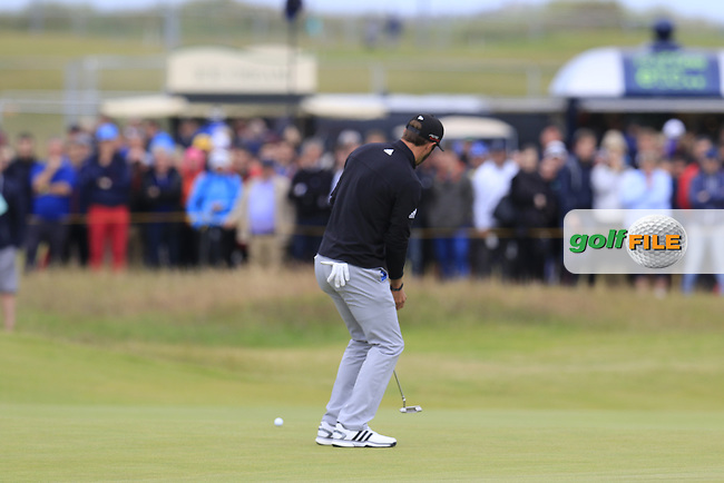 Dustin JOHNSON (USA) putts on the 1st green during Sunday's Round 3 of the 144th Open Championship, St Andrews Old Course, St Andrews, Fife, Scotland. 19/07/2015.<br /> Picture Eoin Clarke, www.golffile.ie
