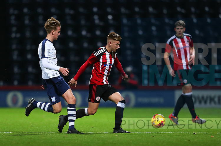 Harvey Gilmour of Sheffield United under 18's in action during the FA Youth Cup 3rd Round match at Deepdale Stadium, Preston. Picture date: November 30th, 2016. Pic Matt McNulty/Sportimage
