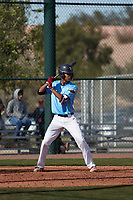 Jalen Greer (14) of St. Rita of Cascia High School in Chicago, Illinois during the Baseball Factory All-America Pre-Season Tournament, powered by Under Armour, on January 14, 2018 at Sloan Park Complex in Mesa, Arizona.  (Freek Bouw/Four Seam Images)