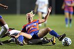 22 November 2013: Florida's Tessa Andujar (15) lands on Duke's Kim DeCesare (below). The University of Florida Gators played the Duke University Blue Devils at Koskinen Stadium in Durham, NC in a 2013 NCAA Division I Women's Soccer Tournament Second Round match. Duke won the game 1-0.