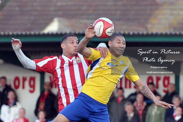 Leon McKenzie (Hornchurch, left) and Ashley Miller (Concord). AFC Hornchurch Vs Concord Rangers. Ryman Premier League. The Stadium. Essex. 03/03/2012. MANDATORY Credit Garry Bowden/Sportinpictures - NO UNAUTHORISED USE - 07837 394578.