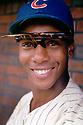 Chicago Cubs Ernie Banks (14) portrait from a game in 1961 at Wrigley Field in Chicago, IL .Ernie Banks played all of his 18 seasons with the Chicago Cubs, was an 11-time All-Star, National League MVP in 1958, 1959 and was inducted to the Baseball Hall of Fame in 1977.<br /> (SportPics)