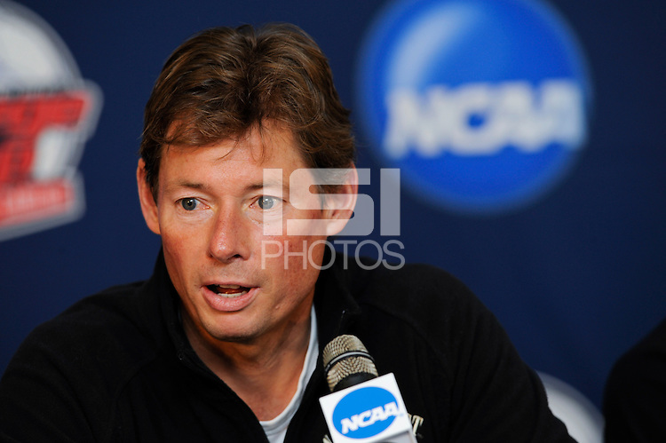 Wake Forest Demon Deacons head coach Jay Vidovich addresses the media during a press conference prior to the semi-finals of the 2009 NCAA Men's College Cup at WakeMed Soccer Park in Cary, NC, on December 10, 2009.