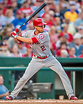 15 August 2017: Los Angeles Angels infielder Andrelton Simmons in action against the Washington Nationals at Nationals Park in Washington, DC. The Nationals defeated the Angels 3-1 in the first game of their 2-game series. Mandatory Credit: Ed Wolfstein Photo *** RAW (NEF) Image File Available ***