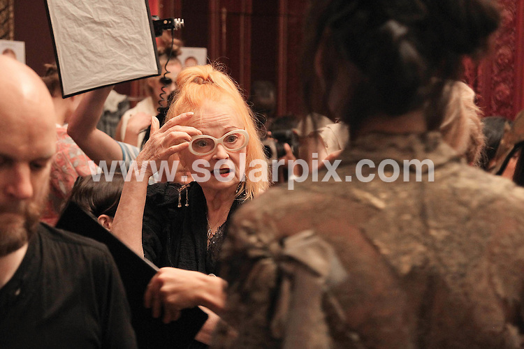 **ALL ROUND PICTURES FROM SOLARPIX.COM**                                             **SYNDICATION RIGHTS FOR UK, AUSTRALIA, DENMARK, PORTUGAL, S. AFRICA, SPAIN & DUBAI (U.A.E) & ASIA (EXCLUDING JAPAN) ONLY**                                                                                  Caption: Paris Fashion Week Spring/Summer 2012 - Vivienne Westwood - Backstage at the Grand Hotel Intercontinental in  Paris                                                                              This pic: Vivienne Westwood                                                                                             JOB REF: 14039       PHZ       DATE:02.10.2011                                                            **MUST CREDIT SOLARPIX.COM OR DOUBLE FEE WILL BE CHARGED**                                                                      **MUST AGREE FEE BEFORE ONLINE USAGE**                               **CALL US ON: +34 952 811 768 or LOW RATE FROM UK 0844 617 7637**