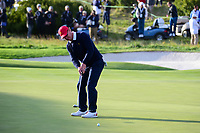Charley Hoffman (USA) watches his putt on 16 during round 3 Four-Ball of the 2017 President's Cup, Liberty National Golf Club, Jersey City, New Jersey, USA. 9/30/2017.<br /> Picture: Golffile | Ken Murray<br /> <br /> All photo usage must carry mandatory copyright credit (&copy; Golffile | Ken Murray)