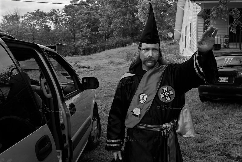 """near Prospect, TN, USA , May 9th 2009.Lawrence Grant, """"Imperial Khaliff"""", is the designated successor of Ray Larsen, """"International Imperial Wizard"""". """"Cross Burning"""" is one of the most well known rituals of the Ku Klux Klan, it has to take place on private ground, as it it is theoretically forbidden. Since President Obama was elected on Nov. 4th, 2008, the Ku Klux Klan has seen new memberships applications being multiplied by 6 compared to the previous year!"""