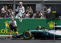 LEWIS HAMILTON (GBR) of Mercedes-AMG Petronas Motorsport celebrate his pole posison during The Formula 1 2018 Rolex British Grand Prix at Silverstone Circuit, Northampton, England on 8 July 2018. Photo by Vince  Mignott.