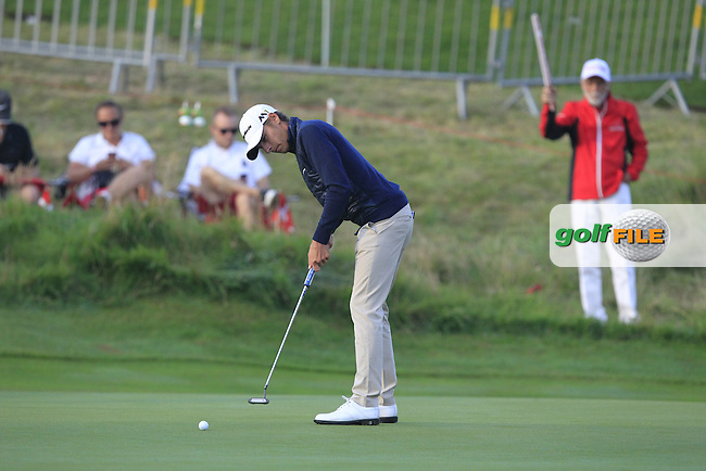 Joakim Lagergren (SWE) on the 10th green during Round 1 of the Made in Denmark 2016 at the Himmerland Golf Resort, Farso, Denmark on Thursday 25th August 2016.<br />