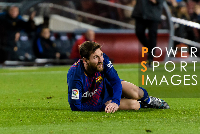 Lionel Messi of FC Barcelona reacs during the Copa Del Rey 2017-18 match between FC Barcelona and Valencia CF at Camp Nou Stadium on 01 February 2018 in Barcelona, Spain. Photo by Vicens Gimenez / Power Sport Images