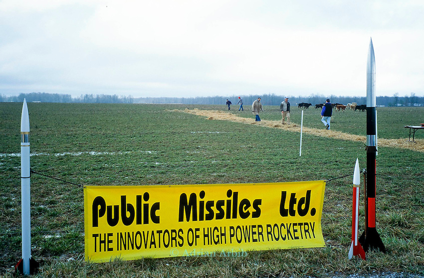 Preparing the  site for a  rocket launch at an amateur rocket festival..Manchester, Tennessee.