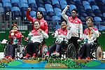 (L-R)<br /> Yuriko Fujii,<br /> Takayuki Hirose,<br /> Takayuki Kitani,<br /> Hidetaka Sugimura (JPN),<br /> SEPTEMBER 12, 2016 - Boccia : <br /> Mixed Team BC1/BC2 Medal Ceremony<br /> at Carioca Arena 2<br /> during the Rio 2016 Paralympic Games in Rio de Janeiro, Brazil.<br /> (Photo by Shingo Ito/AFLO)