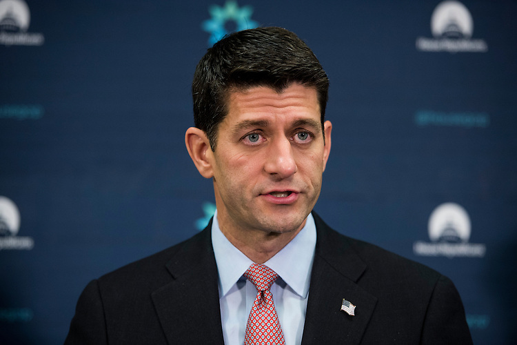 UNITED STATES - NOVEMBER 17: Speaker of the House Paul Ryan, R-Wis., speaks to the media following the House Republican Conference meeting in the basement of the Capitol on Tuesday, Nov. 17, 2015. (Photo By Bill Clark/CQ Roll Call)