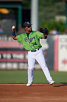 Kane County Cougars Eddie Hernandez (14) throws to first base during a Midwest League game against the Dayton Dragons on July 20, 2019 at Northwestern Medicine Field in Geneva, Illinois.  Dayton defeated Kane County 1-0.  (Mike Janes/Four Seam Images)